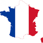 French flag in the shape of the country
